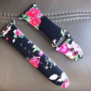 Accessories - Black Apple Watchband with Roses - Beautiful